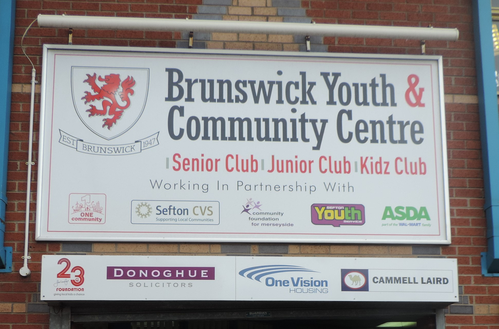 Sign above Brunswick Youth and Community Centre