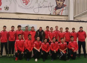 Jamie Carragher with members of the Jamie Carragher Sports and Learning Academy.